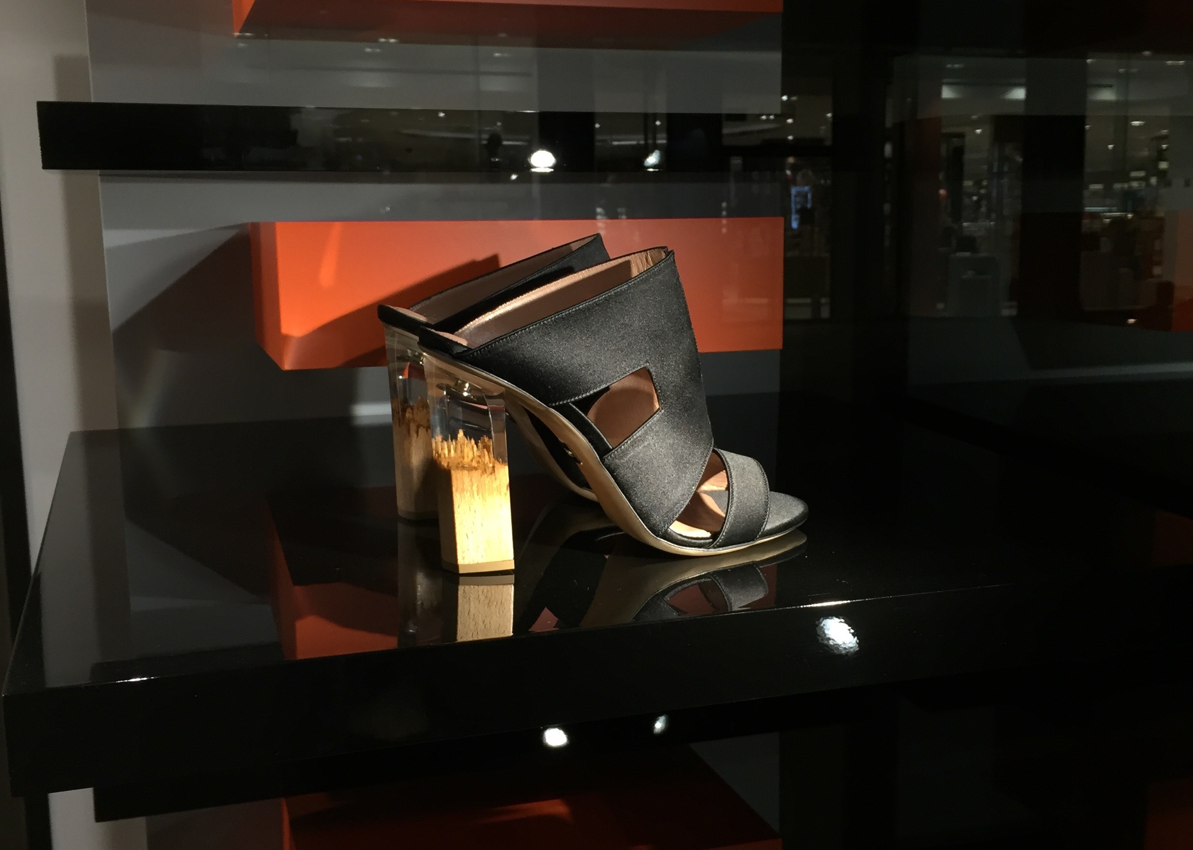Hugo Boss Transparent Wood Mule Heels