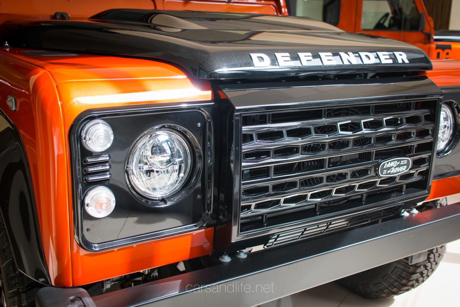 Orange Land Rover Defender